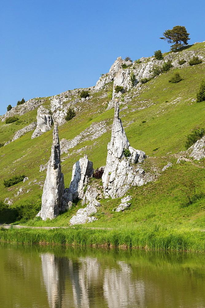 Steinerne Jungfrauen rock formation, Eselsburger Tal Valley, Herbrechtingen, Swabian Jura, Baden-Wuerttemberg, Germany