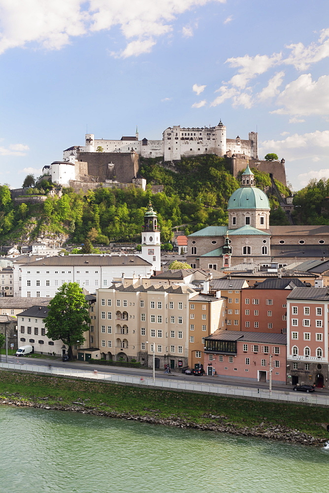 The Old Town, UNESCO World Heritage Site, with Hohensalzburg Fortress, Dom Cathedral and Neue Residenz Palace, Salzburg, Salzburger Land, Austria, Europe