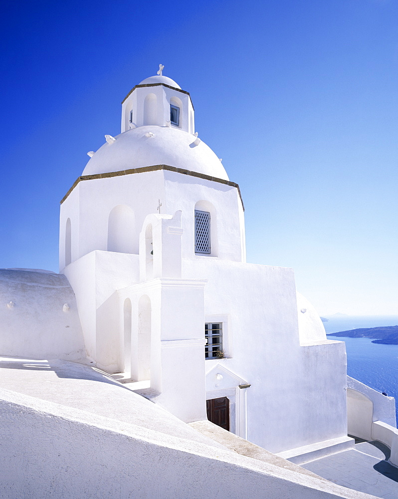 Greece Orthodox church, Fira, Santorini, Cyclades, Aegean Sea, Greek Islands, Greece, Europe
