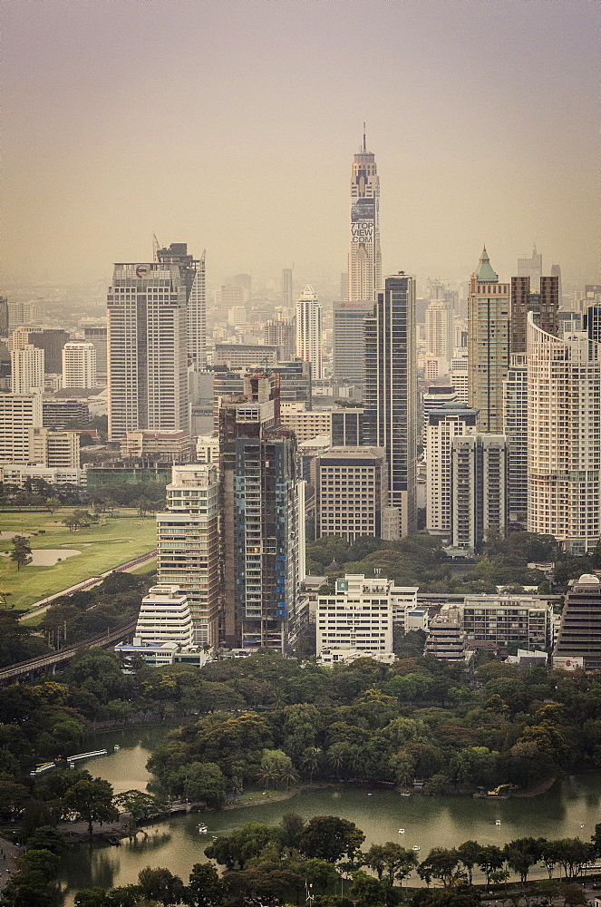 Bangkok skyline, including Baiyoke Tower II (304m) and Lumphini Park, Bangkok, Thailand. - 1163-36