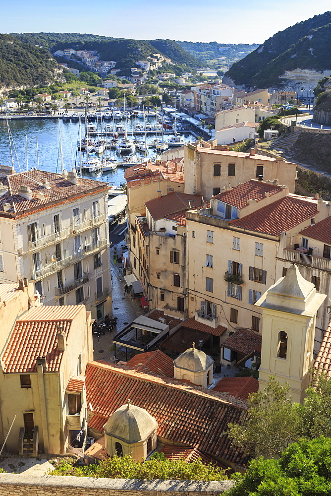 Elevated view of marina, Bonifacio, Corsica, France, Mediterranean, Europe