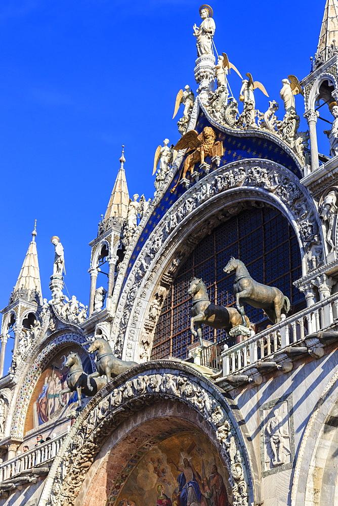 Loggia dei Cavalli, Basilica San Marco, Venice, UNESCO World Heritage Site, Veneto, Italy, Europe