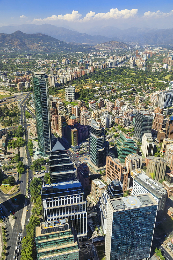 Sanhattan metropolis from Gran Torre Santiago, Costanera Center, South America's tallest, Las Condes, El Golf, Santiago, Chile, South America - 1167-1858