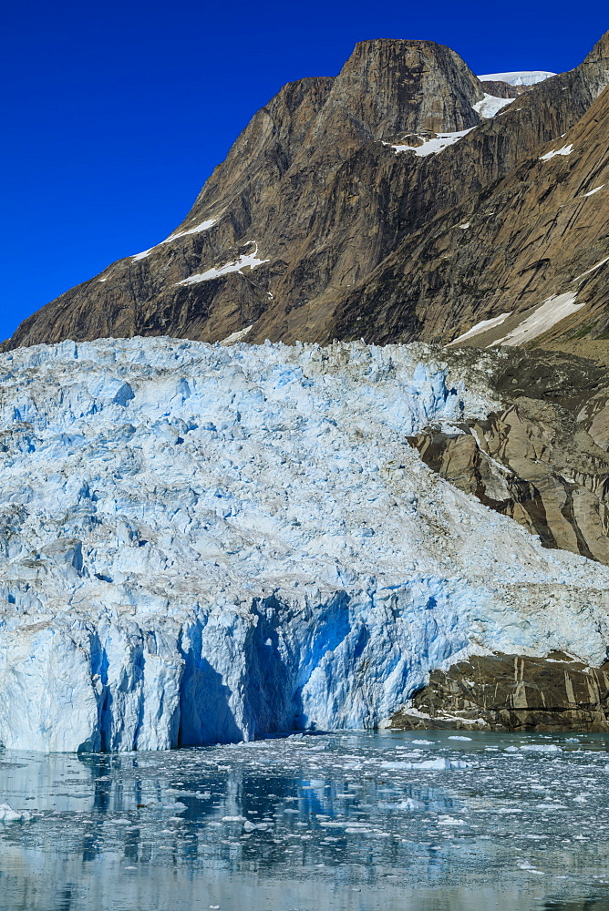 Tidewater glacier, South Skjoldungen Fjord, glorious weather, remote South East Greenland, Denmark, Polar Regions