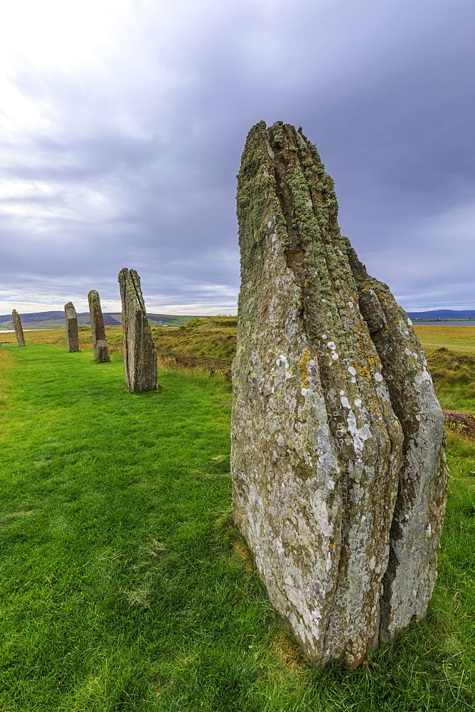 Ring of Brodgar, stone circle, 2500 years old, Heart of Neolithic Orkney UNESCO World Heritage Site, Orkney Islands, Scotland - 1167-1987