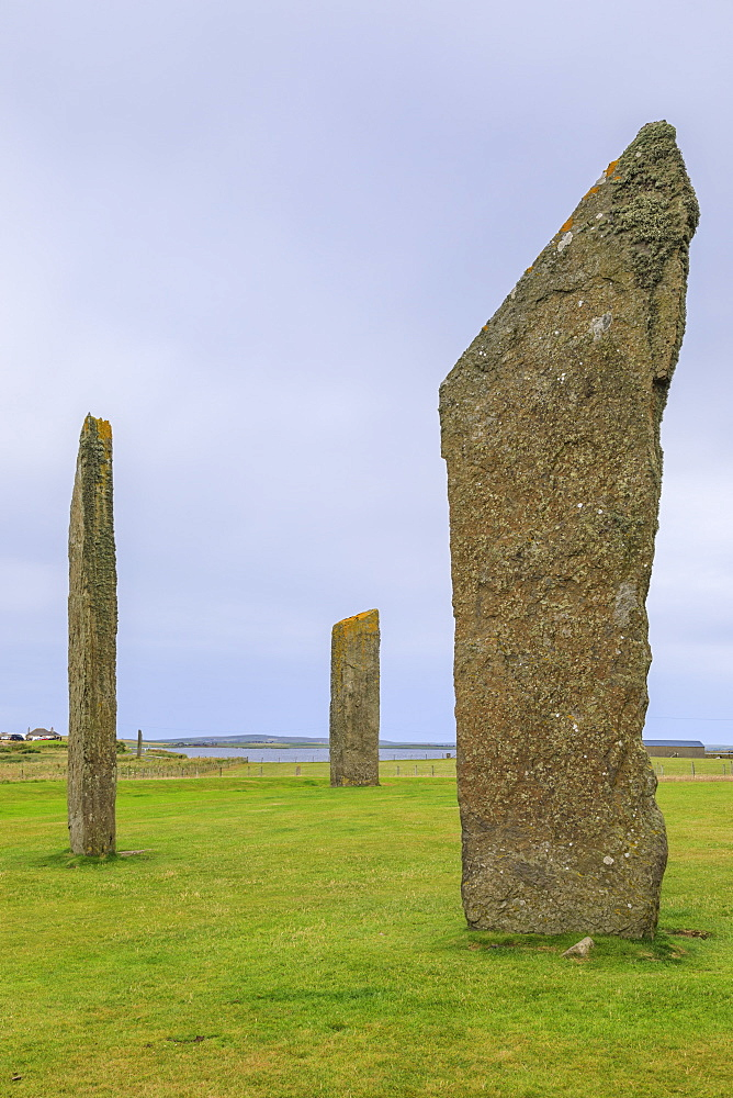 Stones of Stenness, stone circle, henge, 5000 years old, Neolithic Orkney UNESCO World Heritage Site, Orkney Islands, Scotland