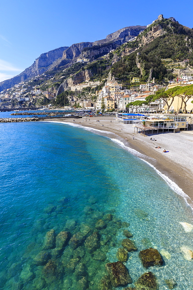 Beautiful Amalfi, sun, turquoise blue sea, Costiera Amalfitana (Amalfi Coast), UNESCO World Heritage Site, Campania, Italy