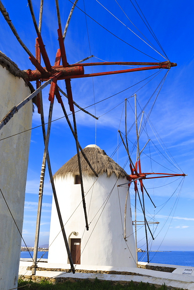 Windmills in a row (Kato Mili), Mykonos Town (Chora), Mykonos, Cyclades, Greek Islands, Greece, Europe