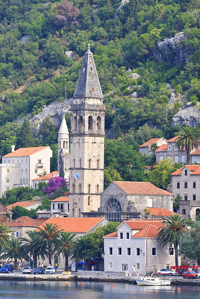 Churches of Our Lady of the Rosary and St. Nicholas, early morning, Perast, Bay of Kotor, UNESCO World Heritage Site, Montenegro, Europe