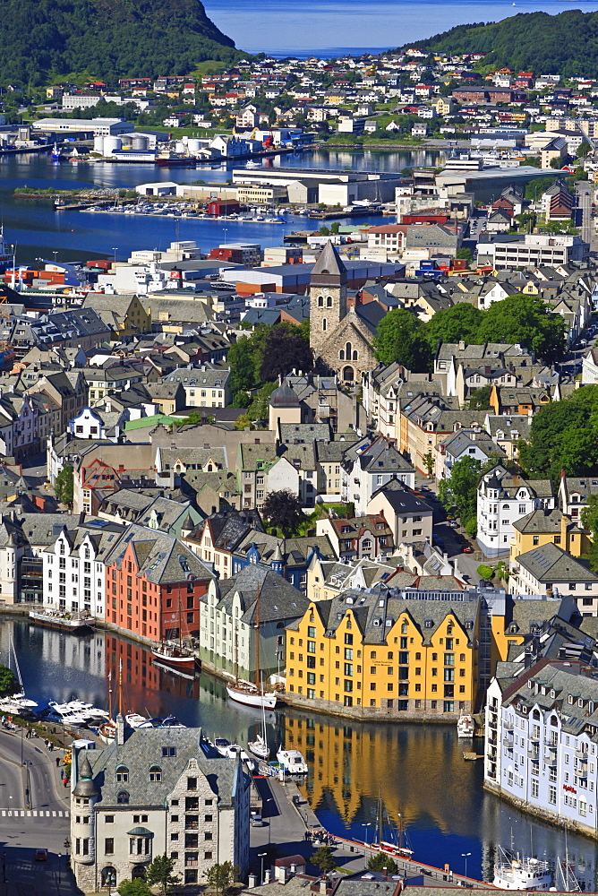 View from Aksla hill over the Art Nouveau buildings of Alesund and out to the open sea, More og Romsdal, Norway, Scandinavia, Europe