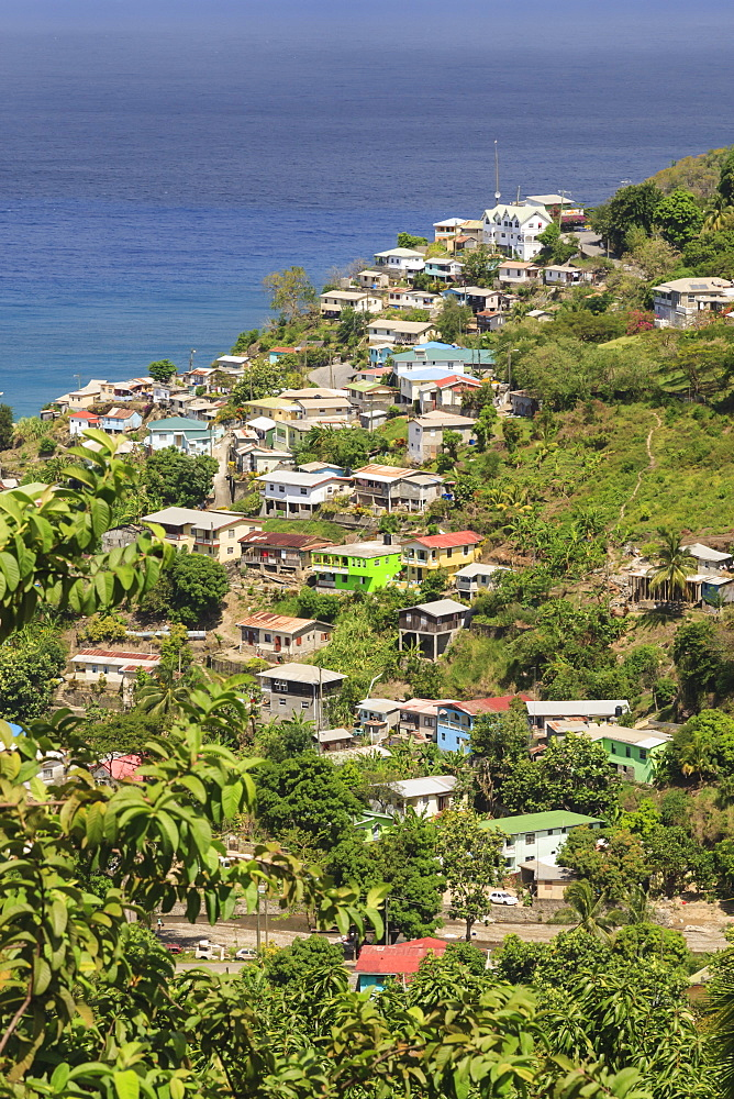 Hillside village by the sea, St. Lucia, Windward Islands, West Indies, Caribbean, Central America