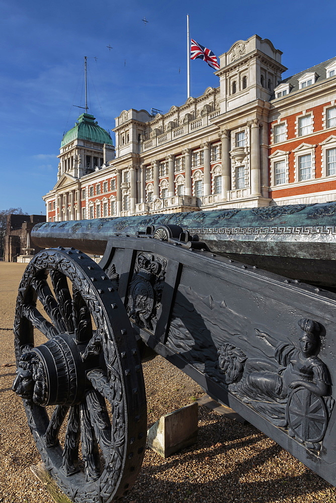 Captured Turkish cannon, Union Flag at half mast on Old Admiralty Building, Horse Guards Parade, Whitehall, London, England, United Kingdom, Europe