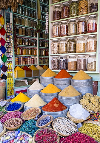 Herbs and spices for sale in souk, Medina, Marrakesh, Morocco, North Africa, Africa - 1170-108