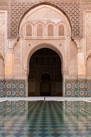 Reflections in the courtyard pool, Medersa Ali Ben Youssef (Madrasa Bin Yousuf), Medina, UNESCO World Heritage Site, Marrakech, Morocco, North Africa, Africa