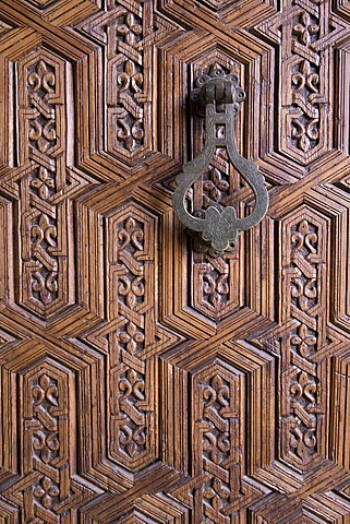 Detail of old ornately carved wooden door, Medina, Marrakesh, Morocco, North Africa, Africa - 1170-121
