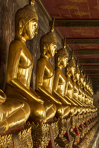 Rows of gold Buddha statues, Wat Suthat temple, Bangkok, Thailand, Southeast Asia, Asia - 1170-199