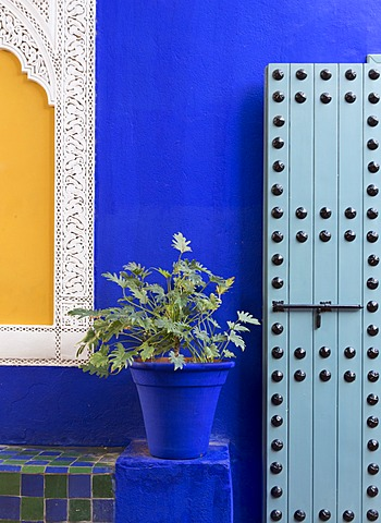 Blue paintwork, Jardin Majorelle, owned by Yves St. Laurent, Marrakech, Morocco, North Africa, Africa