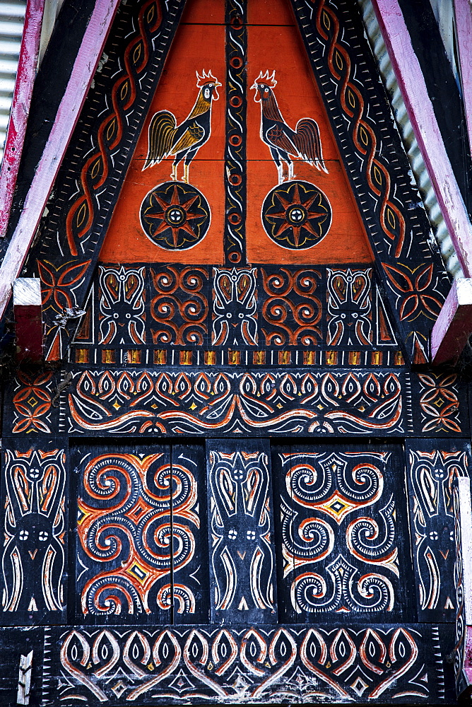 Decoration on a traditional Torajan Tongkonan long house, Tana Toraja, Sulawesi, Indonesia, Southeast Asia, Asia