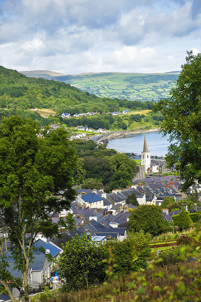 The village of Glenarm and the rural landscape of the Antrim coast, Ballymena, County Antrim, Ulster, Northern Ireland, United Kingdom, Europe