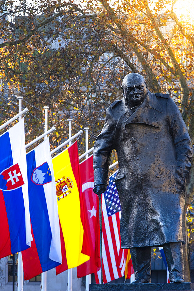 Parliament Square, Winston Churchill statue and NATO flags