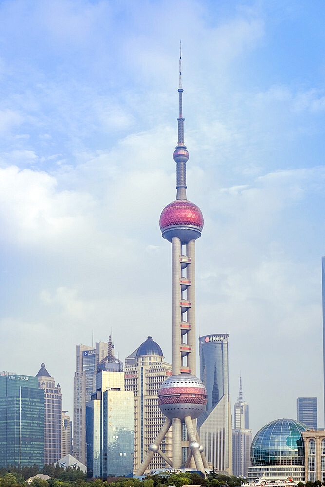 The Oriental Pearl TV Tower in Pudong district in Shanghai