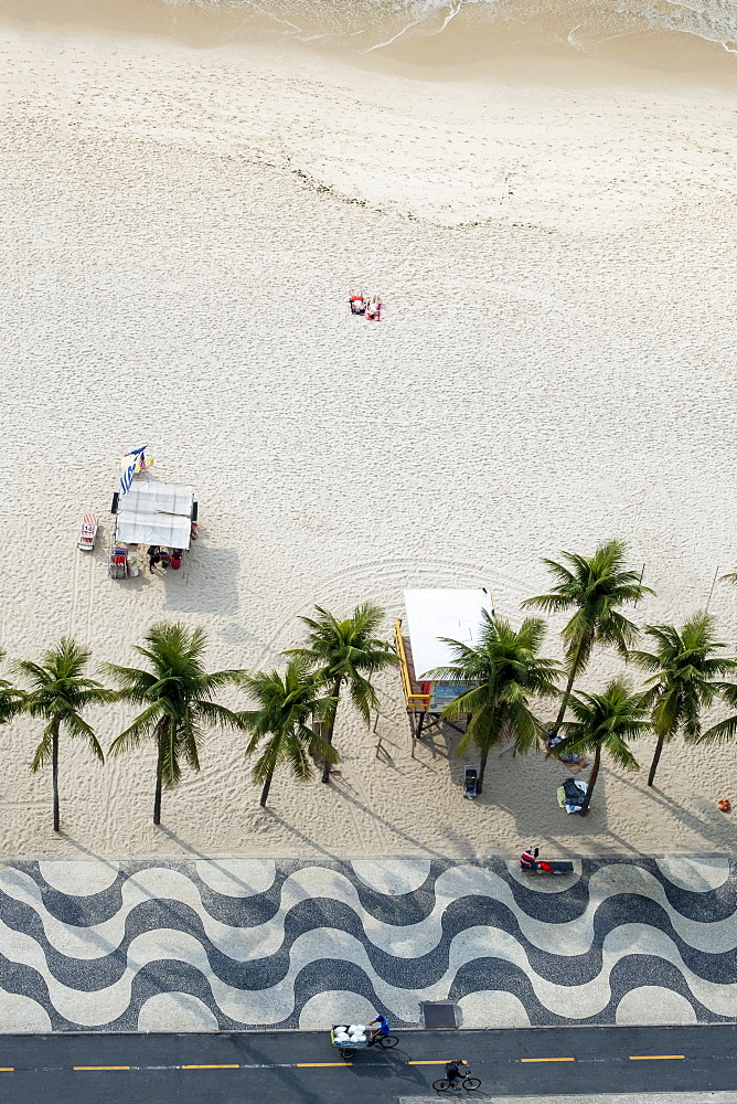 Elevated view of the beach with the famous wavy dragons tooth paving on Avenida Atlantica, Copacabana, Rio de Janeiro, Brazil, South America