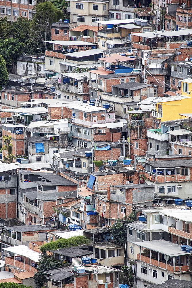 Detailed view of poor housing in the Pavao Pavaozinhao favela slum, Rio de Janeiro, Brazil, South America