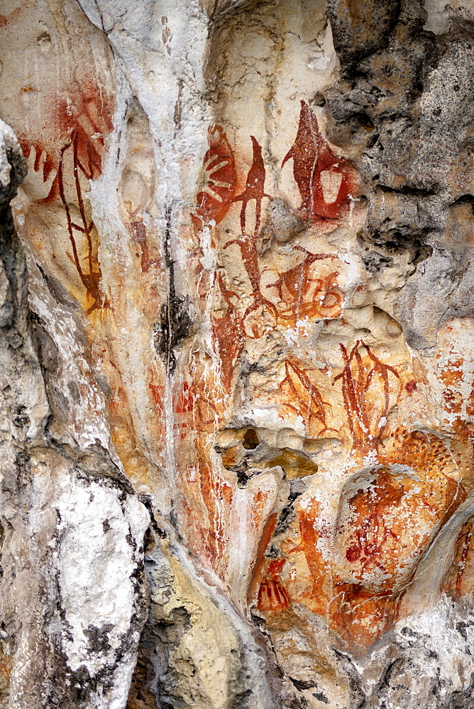 Indonesia, Spice Islands, West Papua, Raja Ampat, prehistoric rock art in Misool
