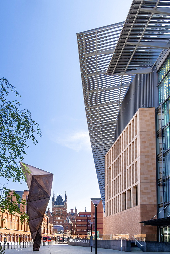 The Francis Crick Institute biomedical research centre, with St. Pancras railway station in the background, King's Cross, London, England, United Kingdom, Europe