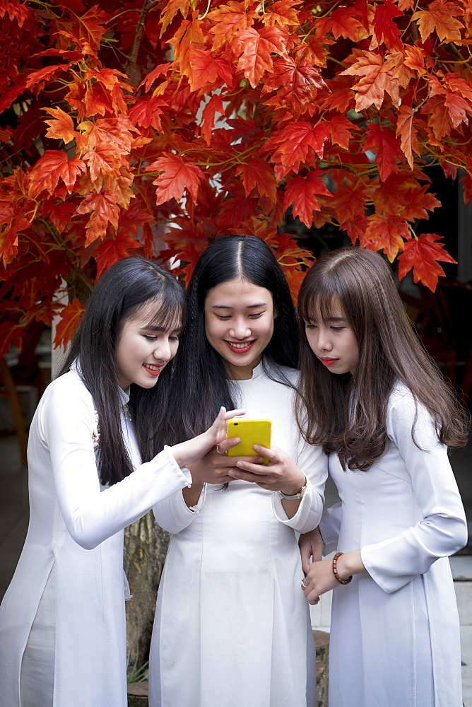 Three Vietnamese female friends wearing traditional Ao Dai dresses and sharing a mobile phone, Hue, Vietnam, Indochina, Southeast Asia, Asia