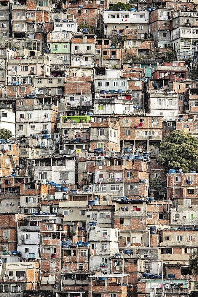 View of poor housing in the favela (slum), Cantagalo near Copacabana Beach, Rio de Janeiro, Brazil, South America - 1176-1277