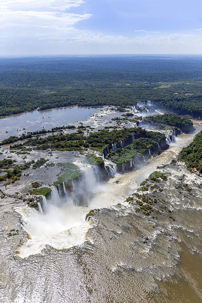 Aerial view of the Devil's Throat and the Iguassu River, Iguazu Falls, UNESCO World Heritage Site, Parana, Brazil, South America