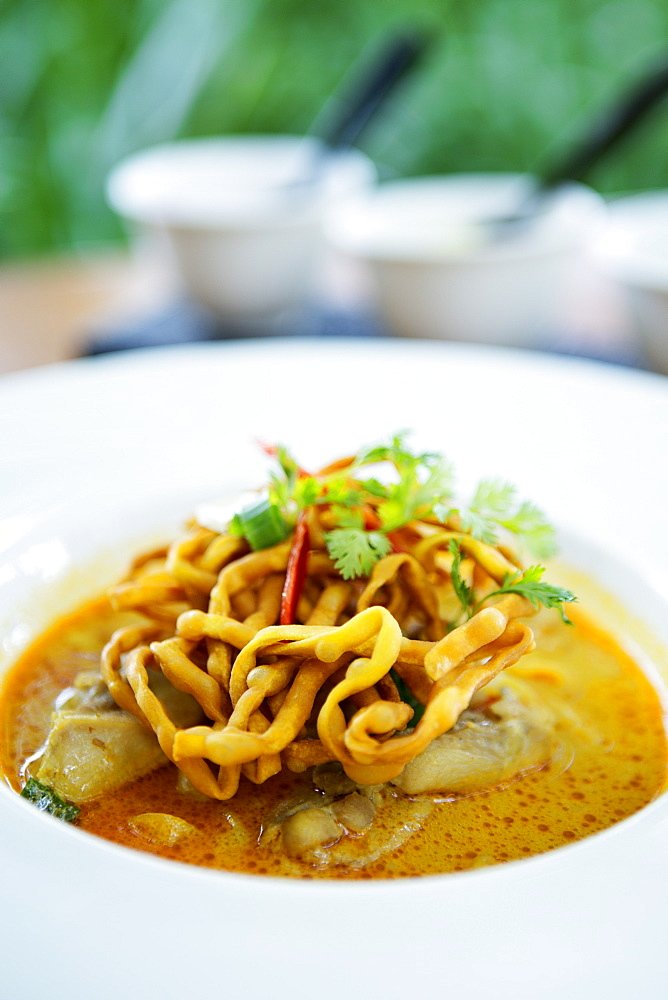 Crispy noodles and Thai curry, Chiang Mai, Thailand, Southeast Asia, Asia