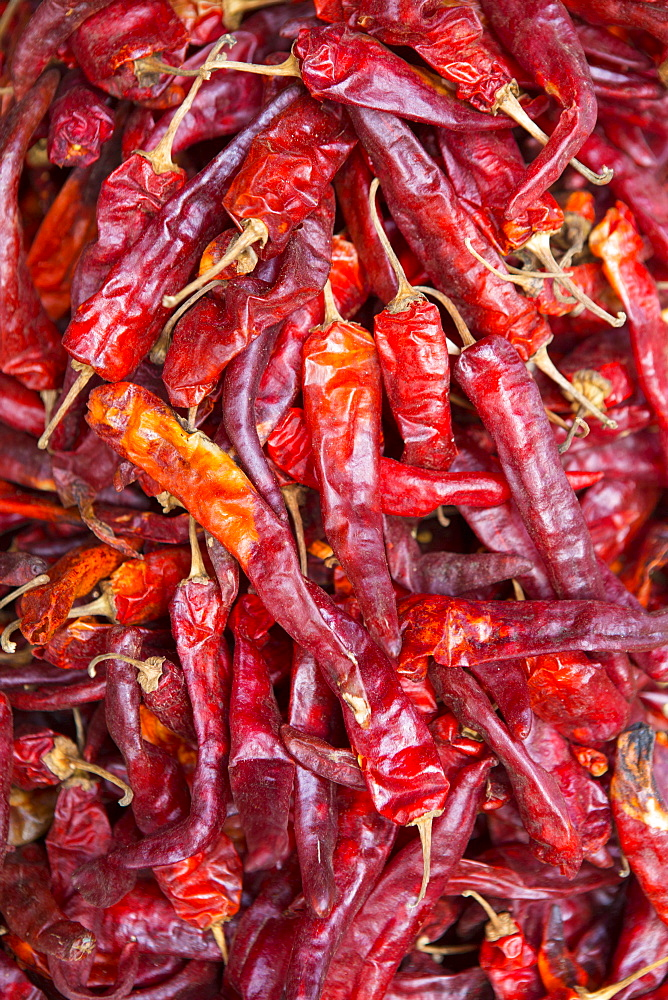 Chilli peppers in the market, Monywa, Sagaing, Myanmar, Southeast Asia