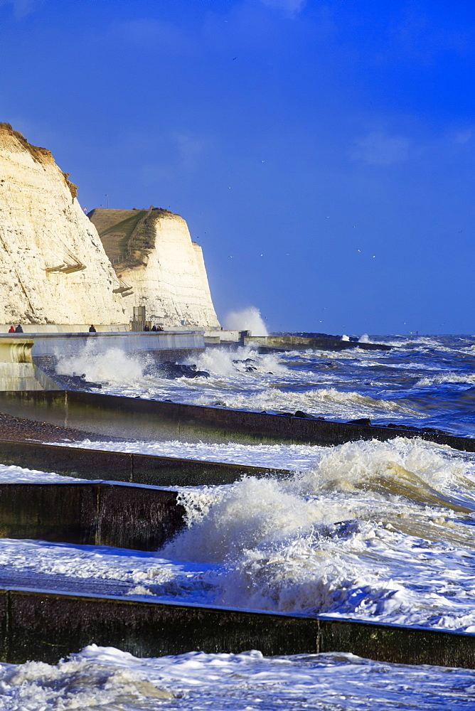 The white chalk cliffs at Peacehaven, near Brighton, East Sussex, England, United Kingdom, Europe