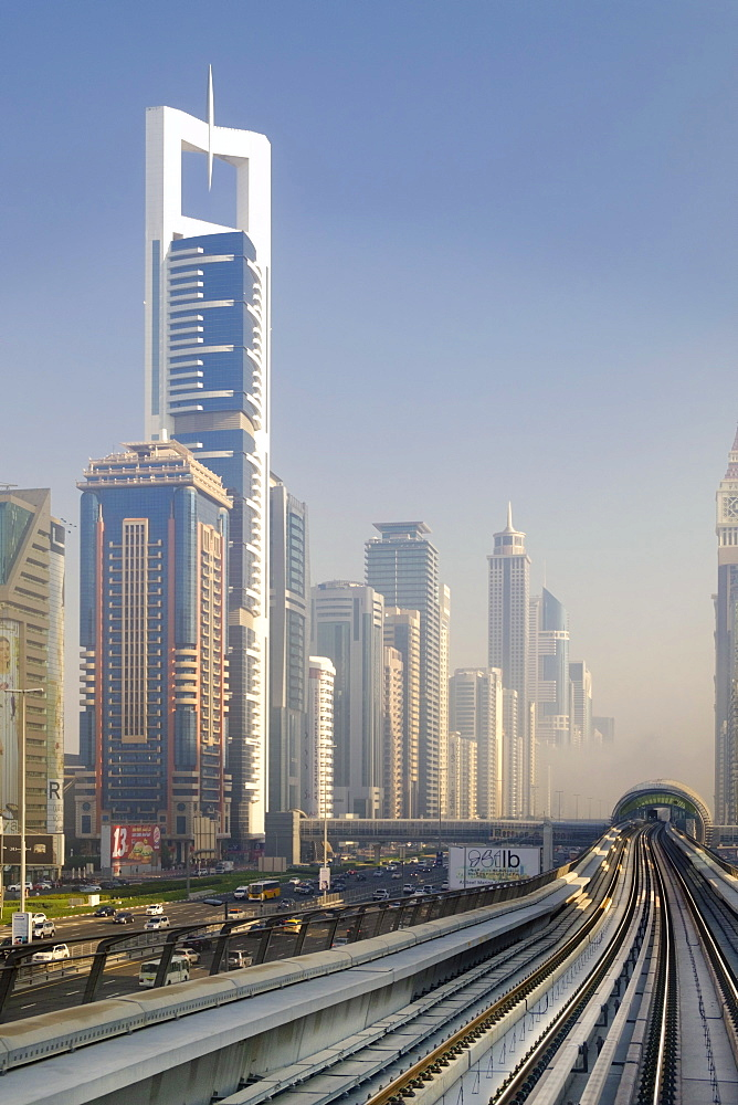 View of the Dubai metro rapid transit rail network and skyscrapers, Dubai, United Arab Emirates, Middle East - 1176-875