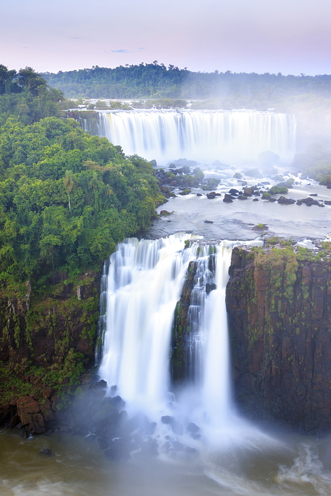View of the Iguassu (Iguazu) (Iguacu) Falls, UNESCO World Heritage Site, a waterfall on the border of Brazil and Argentina, South America - 1176-898