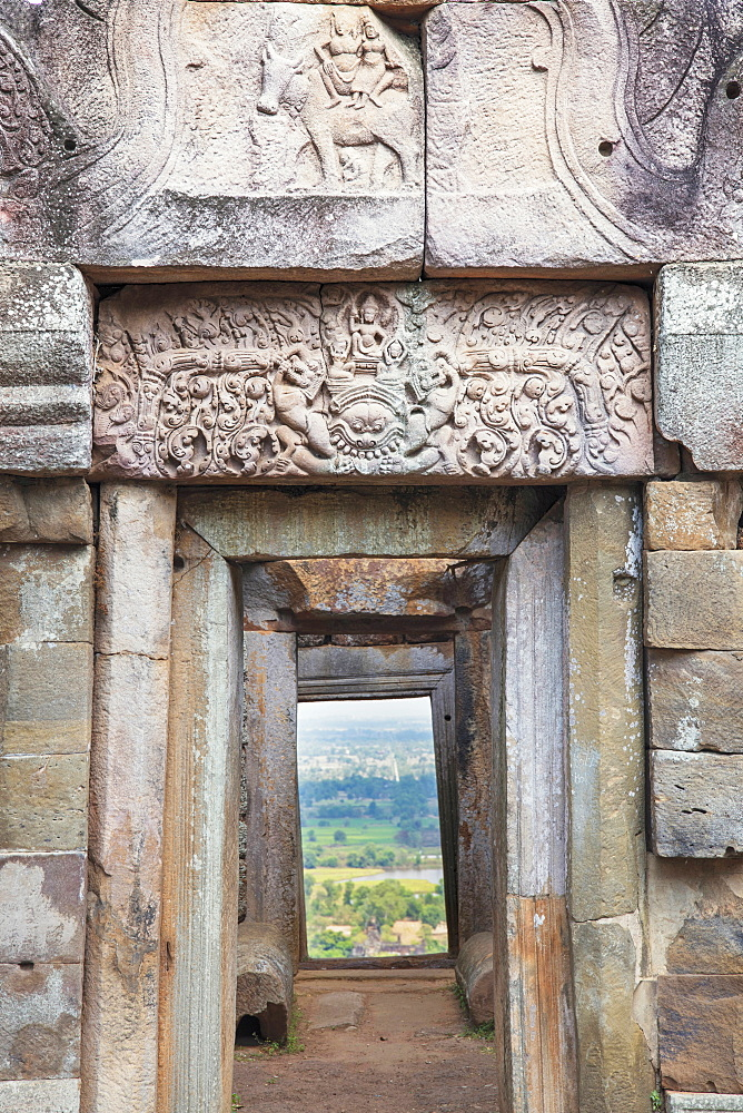 A lintel on a Khmer temple on Chi Sor Mountain in Takeo, Cambodia, Indochina, Southeast Asia, Asia - 1176-928
