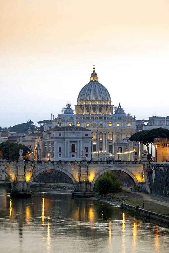 View of the Tiber (Tevere) River, Saint Angelo Bridge and the dome of St. Peter's, Rome, Lazio, Italy, Europe - 1176-951