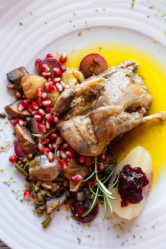 Portuguese Mediterranean dish of roast chicken in olive oil served with rosemary and pomegranate, Portugal, Europe - 1176-955