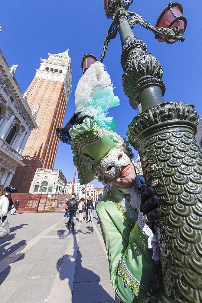 Colourful mask and costume of the Carnival of Venice, famous festival worldwide, Venice, Veneto, Italy, Europe