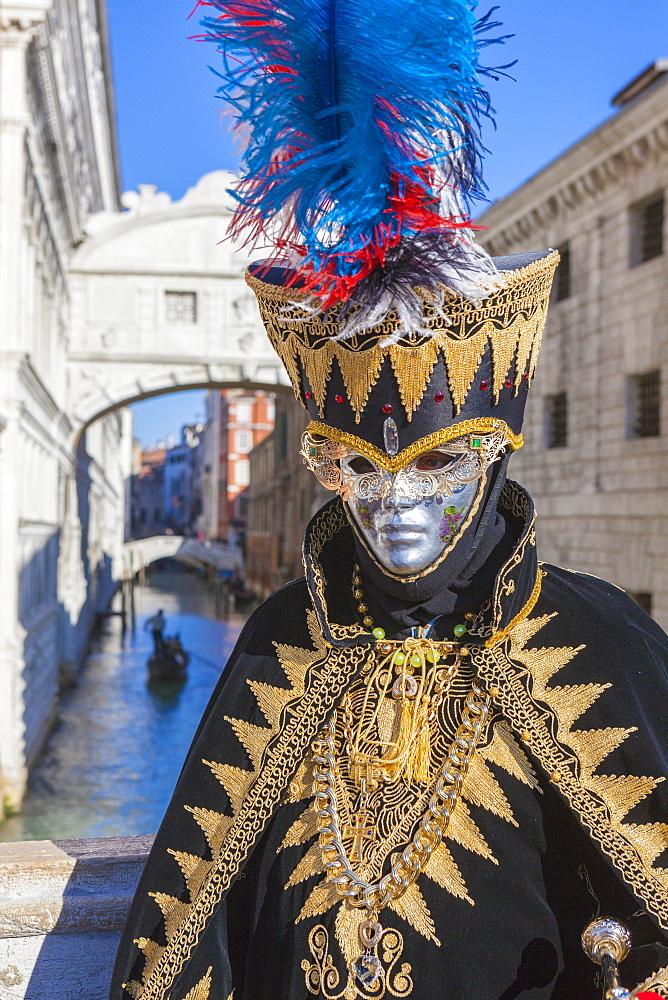 Colourful mask and costume of Carnival of Venice, Venice, Veneto, Italy, Europe