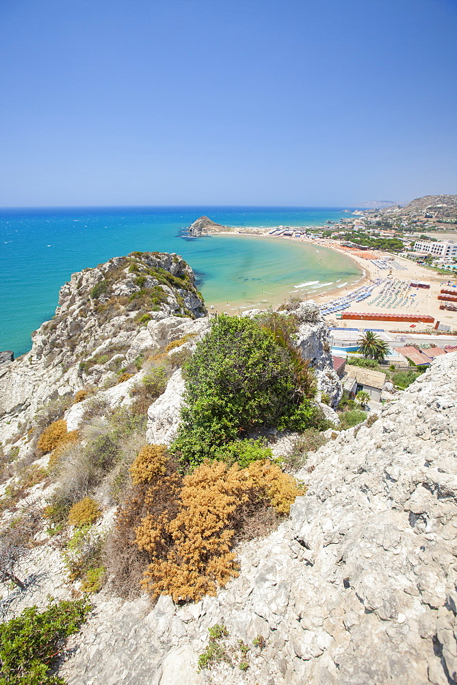 The cliffs frame the turquoise sea and the sandy beach of Licata province of Agrigento Sicily Italy Europe