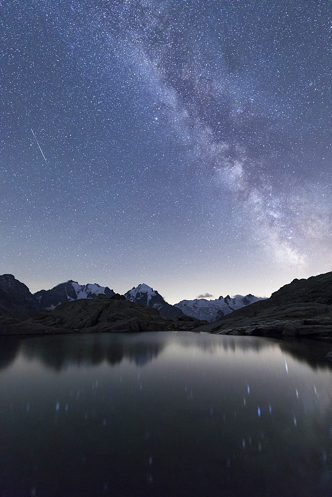 Milky Way on Piz Bernina, Fuorcla Surlej, Corvatsch, Engadine, Canton of Graubunden, Swiss Alps, Switzerland, Europe