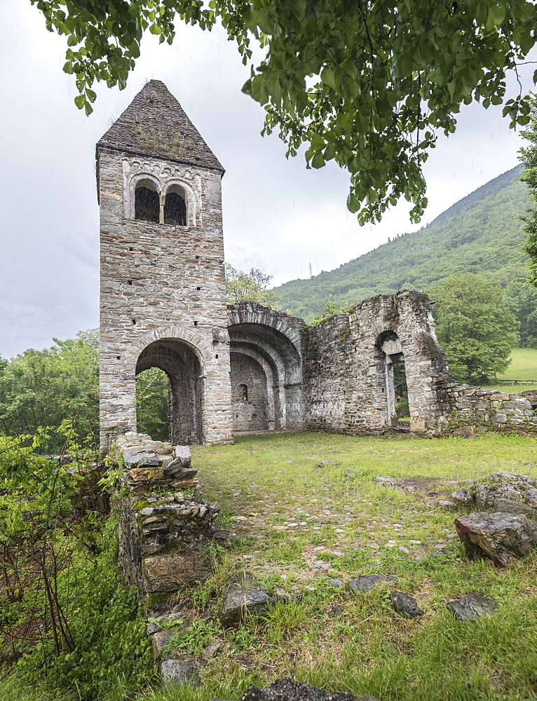 The medieval Abbey of San Pietro in Vallate, Piagno, Sondrio province, Lower Valtellina, Lombardy, Italy