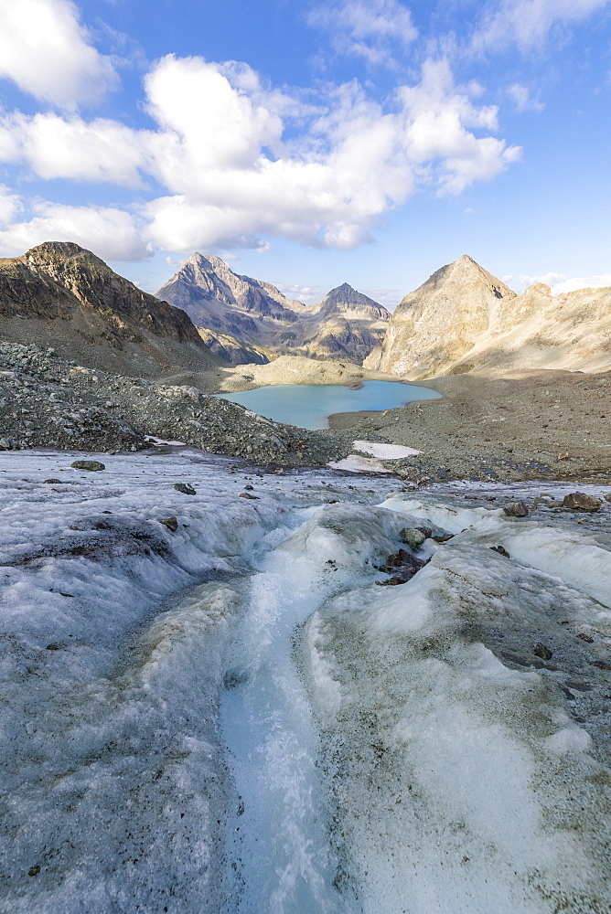 Glacier at the foot of Lej Lagrev, Silvaplana, Engadine, Canton of Graubunden, Switzerland, Europe