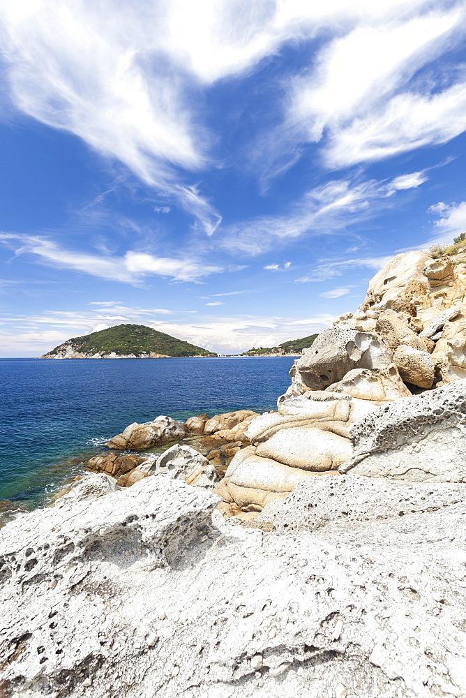 White cliffs, Gulf of Procchio, Marciana, Elba Island, Livorno Province, Tuscany, Italy
