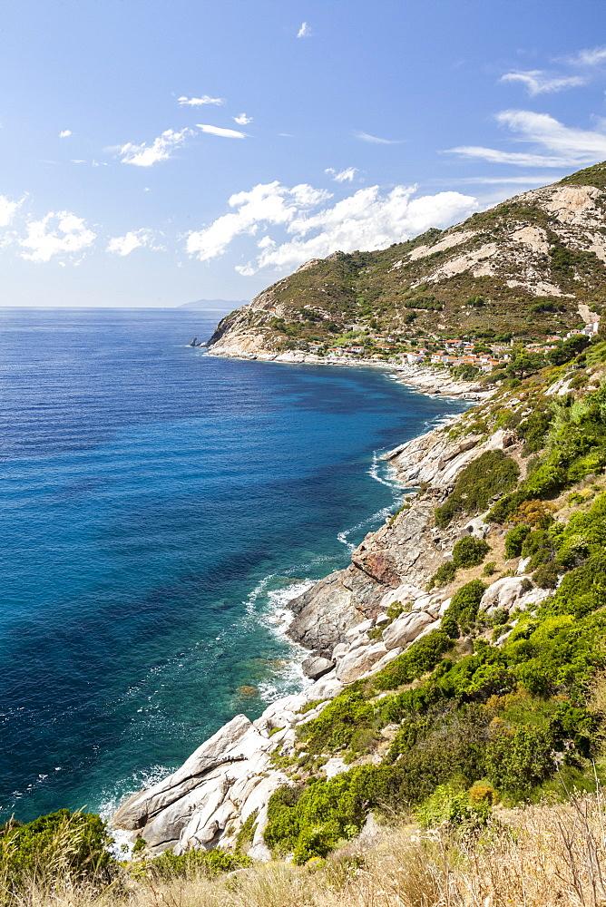 Cliffs on the blue sea, Pomonte, Marciana, Elba Island, Livorno Province, Tuscany, Italy - 1179-2617