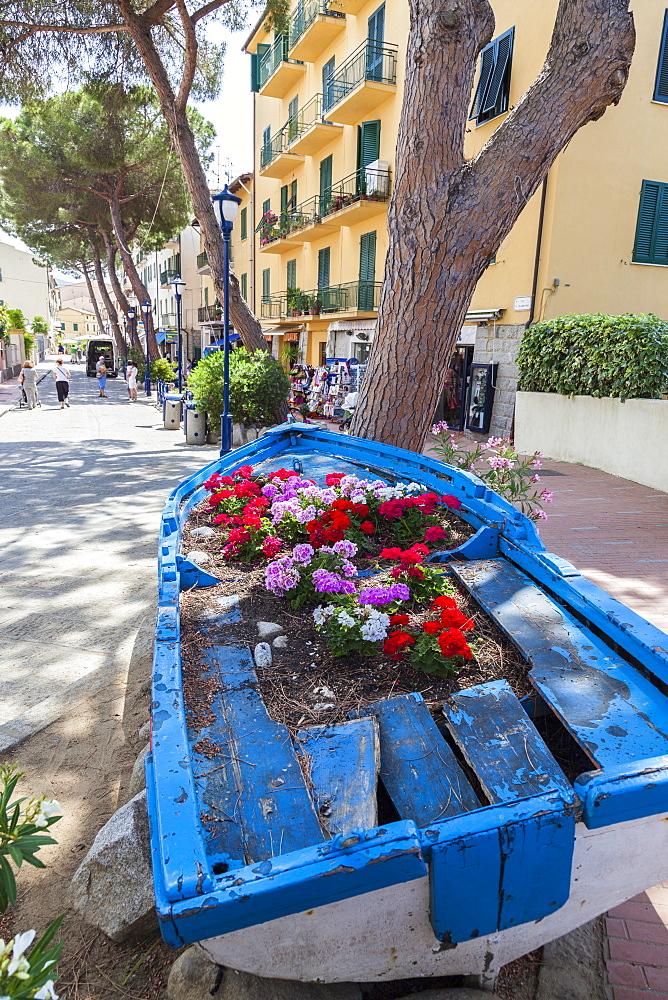 Wood boat decorated with flowers, Marina Di Campo, Elba Island, Livorno Province, Tuscany, Italy
