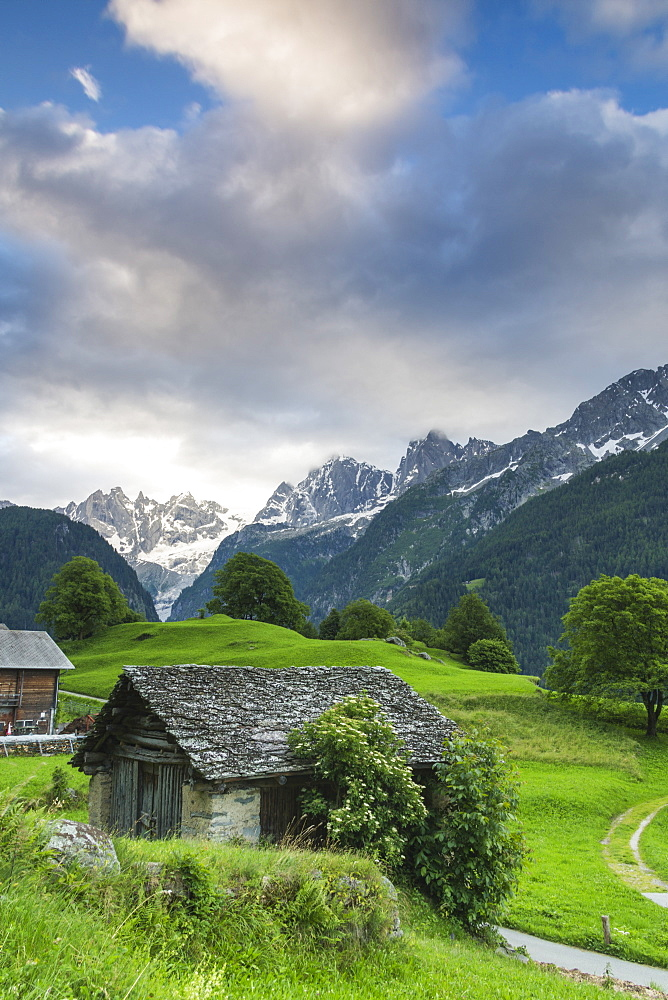 The alpine village of Soglio at dawn, Bregaglia Valley, Maloja Region, Canton of Graubunden (Grisons), Switzerland, Europe